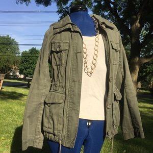 H&M hunter green utility jacket size 4